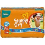 32 Couches Pampers Simply Dry taille 5