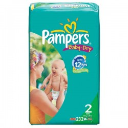 232 Couches Pampers Baby Dry taille 2