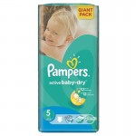 42 Couches Pampers Active Baby Dry taille 5