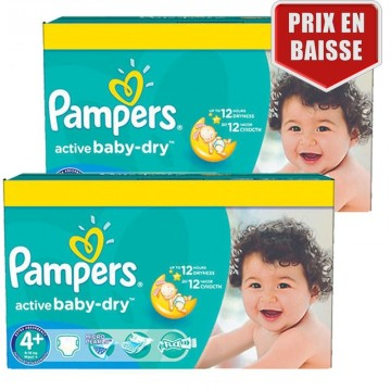 162 Couches Pampers Pampers Active Baby Dry Taille 4 A Petit Prix