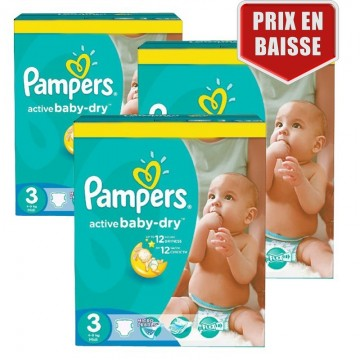 246 Couches Pampers pampers active baby dry taille 3 moins cher sur on