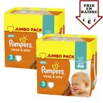 pack Jumeaux 448 Couches de Pampers Sleep & Play sur layota