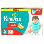64 Couches Pampers Baby Dry Pants taille 6