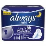 Pack 10 Serviettes hygiéniques Always Ultra sur couches zone
